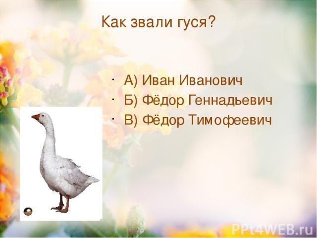 Как звали гуся? А) Иван Иванович Б) Фёдор Геннадьевич В) Фёдор Тимофеевич