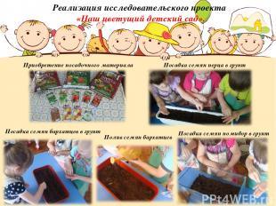 Реализация исследовательского проекта «Наш цветущий детский сад». Приобретение п