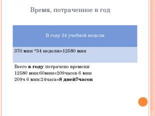 Время, потраченное в год Вгоду 34учебной недели 370 мин *34 недели=12580 мин Все