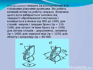 Кут при вершині свердла 2φ розташований між головними ріжучими кромками. Він роб