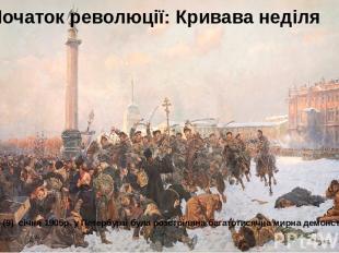 Початок революції: Кривава неділя У неділю 22 (9) січня 1905р. у Петербурзі була