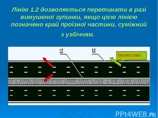Лінію 1.2 дозволяється перетинати в разі вимушеної зупинки, якщо цією лінією поз