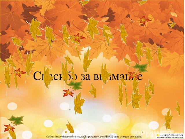 Спасибо за внимание Сайт: http://elenaranko.ucoz.ru/ http://densvi.com/10302-osen-osennie-listya.html