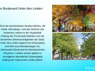 Der Boulevard Unter den Linden Eine der berühmtesten Straßen Berlins, die lokale