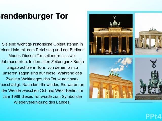 Brandenburger Tor Sie sind wichtige historische Objekt stehen in einer Linie mit dem Reichstag und der Berliner Mauer. Diesem Tor seit mehr als zwei Jahrhunderten. In den alten Zeiten ganz Berlin umgab achtzehn Tore, von denen bis zu unseren Tagen s…