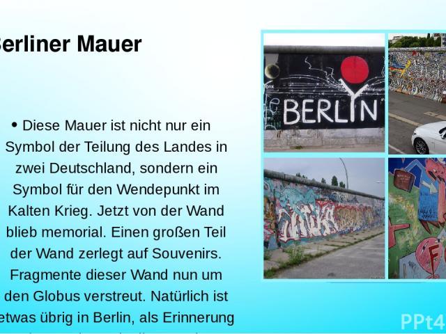Berliner Mauer Diese Mauer ist nicht nur ein Symbol der Teilung des Landes in zwei Deutschland, sondern ein Symbol für den Wendepunkt im Kalten Krieg. Jetzt von der Wand blieb memorial. Einen großen Teil der Wand zerlegt auf Souvenirs. Fragmente die…