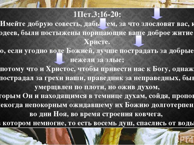 1Пет.3:16-20: 16 Имейте добрую совесть, дабы тем, за что злословят вас, как злодеев, были постыжены порицающие ваше доброе житие во Христе. 17 Ибо, если угодно воле Божией, лучше пострадать за добрые дела, нежели за злые; 18 потому что и Христос, чт…