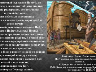 11 В шестисотый год жизни Ноевой, во второй месяц, в семнадцатый день месяца, в