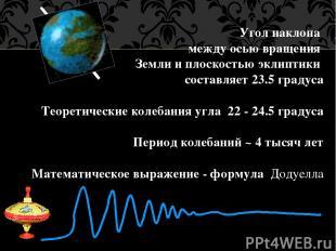 Угол наклона между осью вращения Земли и плоскостью эклиптики составляет 23.5 гр