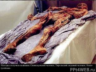 Находка получила названия: Симилаунский человек; Тирольский ледовый человек; Hom