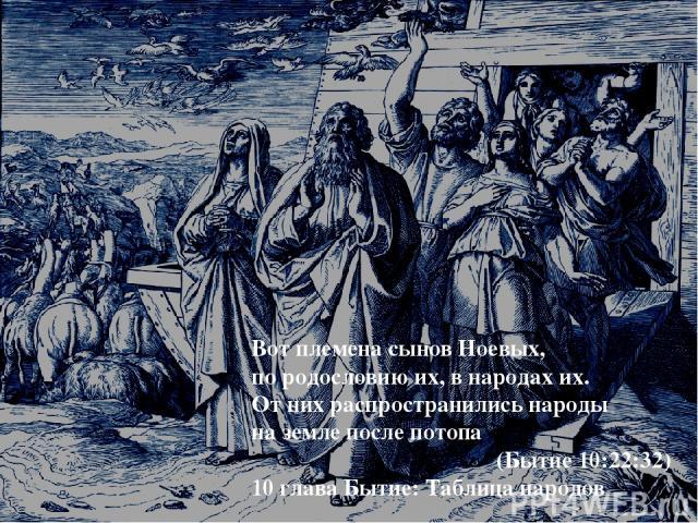 Вот племена сынов Ноевых, по родословию их, в народах их. От них распространились народы на земле после потопа (Бытие 10:22:32) 10 глава Бытие: Таблица народов
