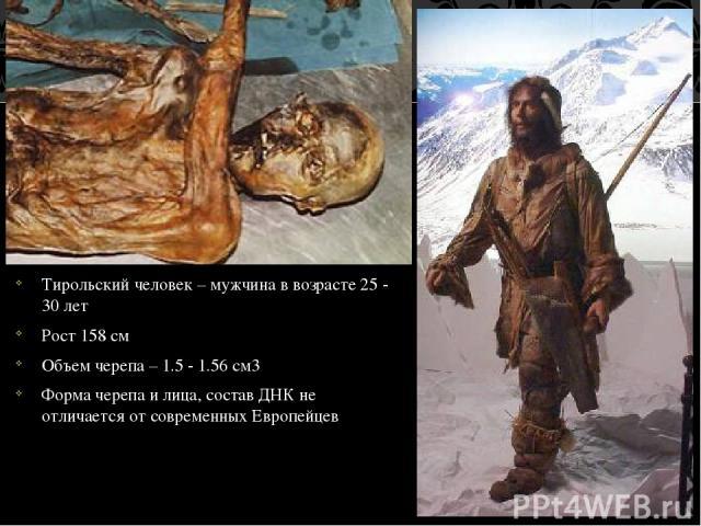 Тирольский человек – мужчина в возрасте 25 - 30 лет Рост 158 см Объем черепа – 1.5 - 1.56 см3 Форма черепа и лица, состав ДНК не отличается от современных Европейцев