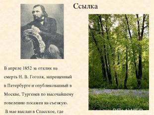 Ссылка В апреле 1852 за отклик на смерть Н. В. Гоголя, запрещенный в Петербурге