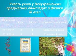 Участь учнів у Всеукраїнських предметних олімпіадах з фізики ІІІ етап Навчальний