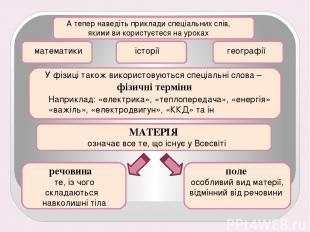 А тепер наведіть приклади спеціальних слів, якими ви користуєтеся на уроках мате