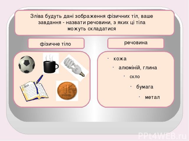 Зліва будуть дані зображення фізичних тіл, ваше завдання - назвати речовини, з яких ці тіла можуть складатися фізичне тіло речовина кожа алюміній, глина скло бумага метал