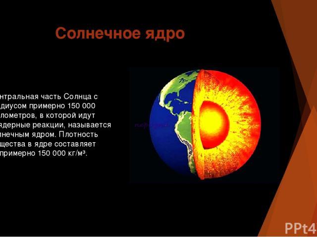 Солнечное ядро Центральная часть Солнца с радиусом примерно 150 000 километров, в которой идут термоядерные реакции, называется солнечным ядром. Плотность вещества в ядре составляет примерно 150 000 кг/м³.