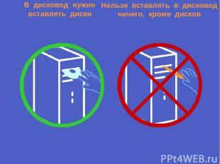 В дисковод нужно вставлять диски Нельзя вставлять в дисковод ничего, кроме диско