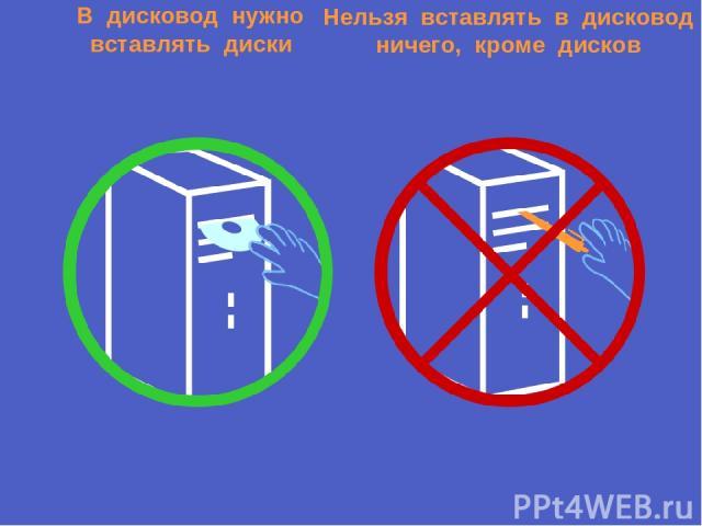 В дисковод нужно вставлять диски Нельзя вставлять в дисковод ничего, кроме дисков