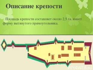 Описание крепости Площадь крепости составляет около 2,5 га. имеет форму вытянуто
