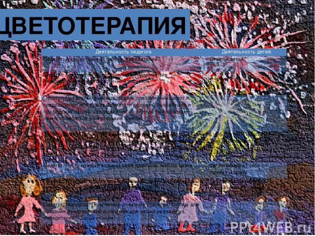 ЦВЕТОТЕРАПИЯ Деятельность педагога Деятельность детей. Педагог: А как встречают героев, победителей?  Ответы детей Педагог: Конечно – с радостью, с благодарностью, поздравлениями и с праздничным салютом.   Педагог: Предлагаю вам подготовить празд…