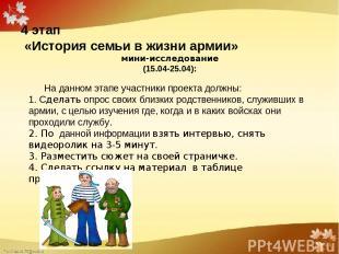 4 этап «История семьи в жизни армии» мини-исследование (15.04-25.04):  На д