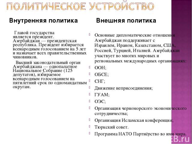 Внутренняя политика Главой государства являетсяпрезидент. Азербайджан— президентская республика. Президент избирается всенародным голосованием на 5 лет и назначает всех правительственных чиновников. Высший законодательный орган Азербайджана— одно…
