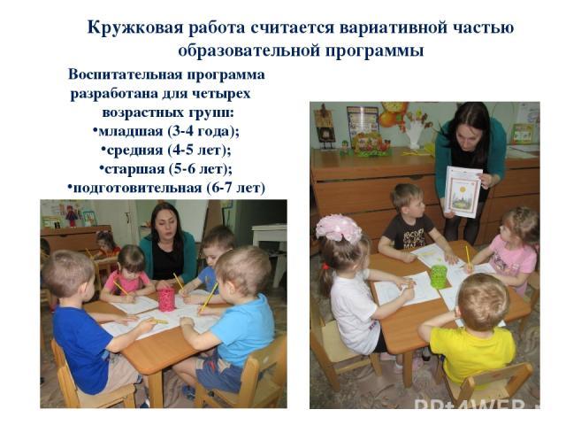 Кружковая работа считается вариативной частью образовательной программы Воспитательная программа разработана для четырех возрастных групп: младшая (3-4 года); средняя (4-5 лет); старшая (5-6 лет); подготовительная (6-7 лет)