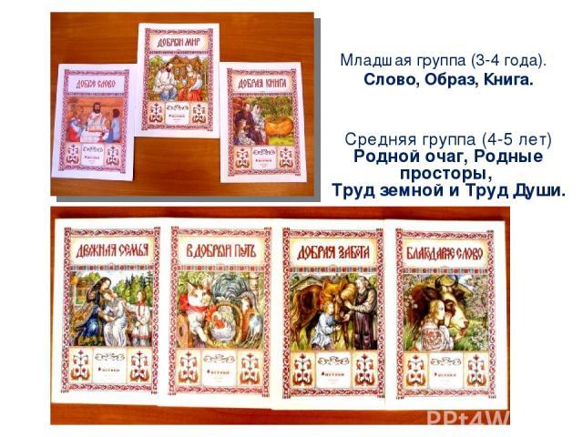 Младшая группа (3-4 года). Слово, Образ, Книга. Средняя группа (4-5 лет) Родной очаг, Родные просторы, Труд земной и Труд Души.