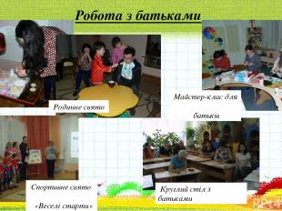 Робота з батьками Родинне свято Майстер-клас для батьків Круглий стіл з батьками
