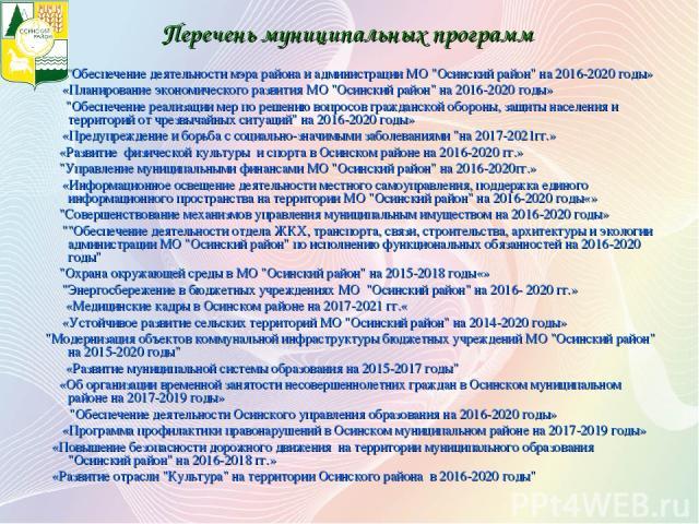 Перечень муниципальных программ