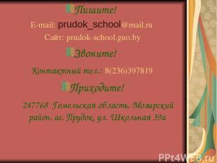 Пишите! E-mail: prudok_school@mail.ru Сайт: prudok-school.guo.by Звоните! Контак