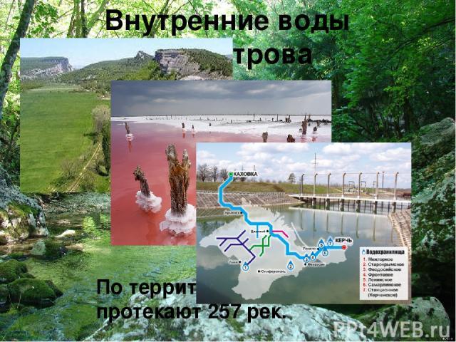 Внутренние воды полуострова По территории Крыма протекают 257 рек.