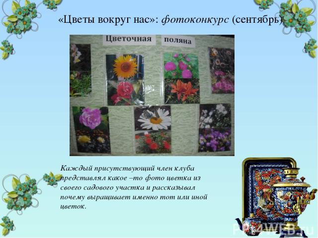 «Цветы вокруг нас»: фотоконкурс (сентябрь) Каждый присутствующий член клуба представлял какое –то фото цветка из своего садового участка и рассказывал почему выращивает именно тот или иной цветок.