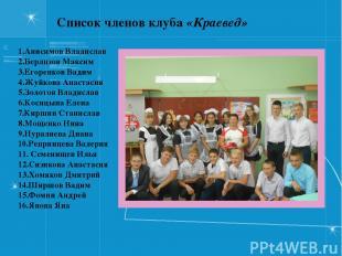 Список членов клуба «Краевед» 1.Анисимов Владислав 2.Берлизов Максим 3.Егоренков