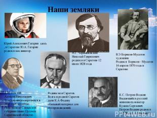 Наши земляки Юрий Алексеевич Гагарин здесь , в Саратове Ю.А. Гагарин родился как