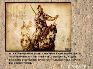 В IX в. южнорусские степи, в том числе и поволжские, заняли тюркоязычные племена