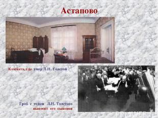 Астапово Комната, где умер Л.Н. Толстой Гроб с телом Л.Н. Толстого выносят его с