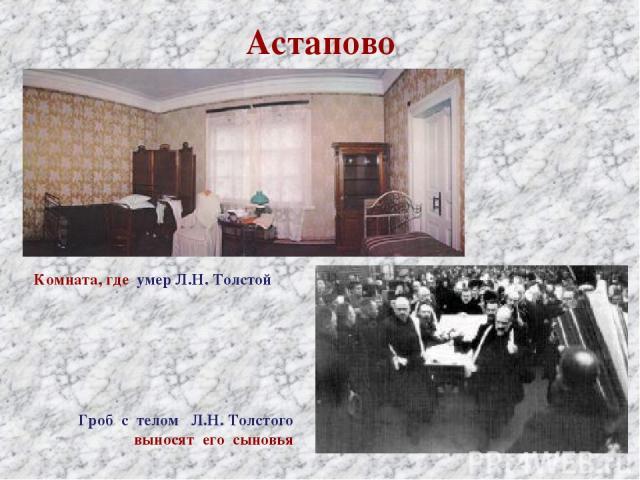 Астапово Комната, где умер Л.Н. Толстой Гроб с телом Л.Н. Толстого выносят его сыновья