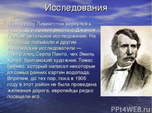 Исследования В 1860 году Ливингстон вернулся к водопаду и провел вместе с Джоном