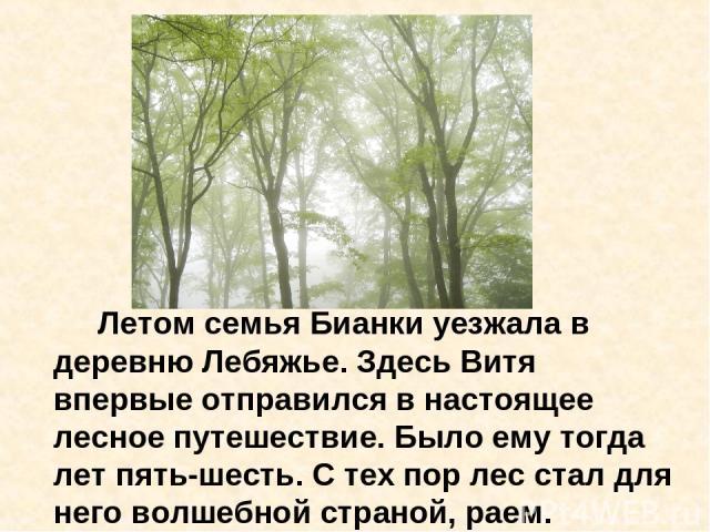 Летом семья Бианки уезжала в деревню Лебяжье. Здесь Витя впервые отправился в настоящее лесное путешествие. Было ему тогда лет пять-шесть. С тех пор лес стал для него волшебной страной, раем.