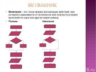 Ветвление – это такая форма организации действий, при которой в зависимости от и