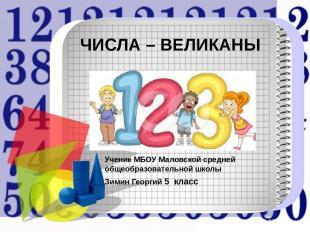 ЧИСЛА – ВЕЛИКАНЫ Ученик МБОУ Маловской средней общеобразовательной школы Зимин Г