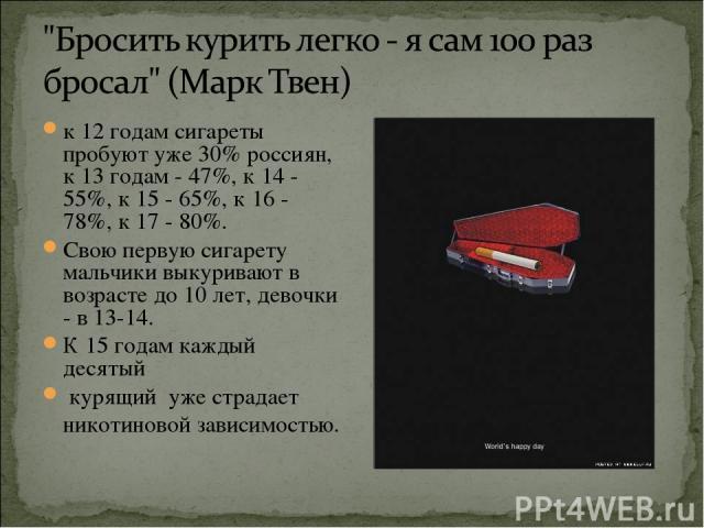 к 12 годам сигареты пробуют уже 30% россиян, к 13 годам - 47%, к 14 - 55%, к 15 - 65%, к 16 - 78%, к 17 - 80%. Свою первую сигарету мальчики выкуривают в возрасте до 10 лет, девочки - в 13-14. К 15 годам каждый десятый курящий уже страдает никотинов…