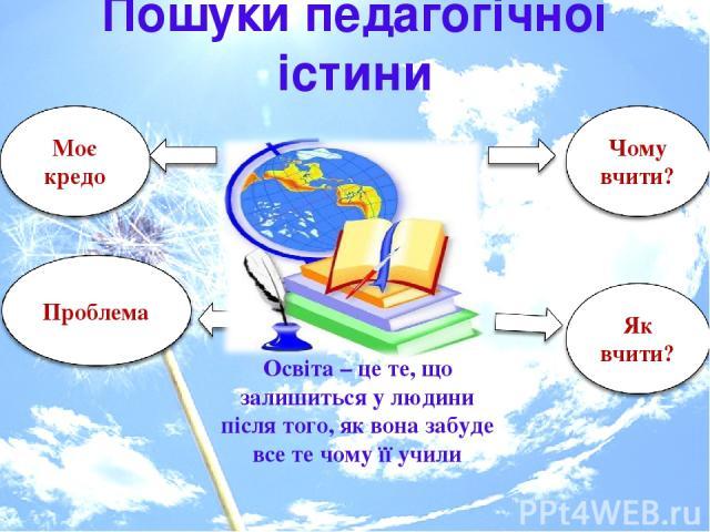Пошуки педагогічної істини Освіта – це те, що залишиться у людини після того, як вона забуде все те чому її учили