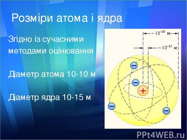 Розміри атома і ядра Згідно із сучасними методами оцінювання Діаметр атома 10-10 м Діаметр ядра 10-15 м