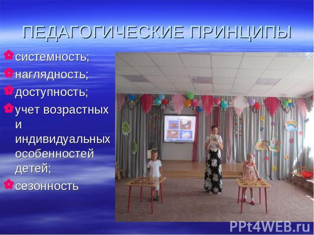 ПЕДАГОГИЧЕСКИЕ ПРИНЦИПЫ системность; наглядность; доступность; учет возрастных и индивидуальных особенностей детей; сезонность