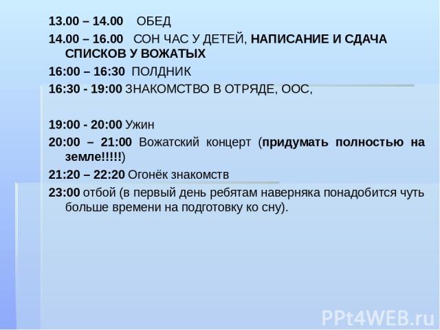 13.00 – 14.00 ОБЕД 14.00 – 16.00 СОН ЧАС У ДЕТЕЙ, НАПИСАНИЕ И СДАЧА СПИСКОВ У ВОЖАТЫХ 16:00 – 16:30 ПОЛДНИК 16:30 - 19:00 ЗНАКОМСТВО В ОТРЯДЕ, ООС, 19:00 - 20:00 Ужин 20:00 – 21:00 Вожатский концерт (придумать полностью на земле!!!!!) 21:20 – 22:20 …