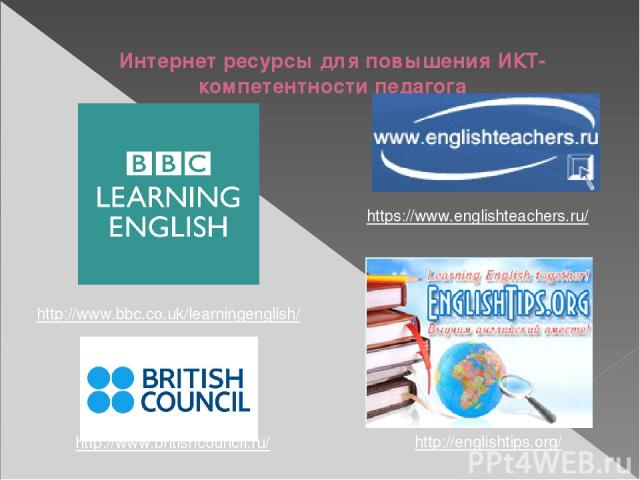 Интернет ресурсы для повышения ИКТ-компетентности педагога http://englishtips.org/ https://www.englishteachers.ru/ http://www.britishcouncil.ru/ http://www.bbc.co.uk/learningenglish/