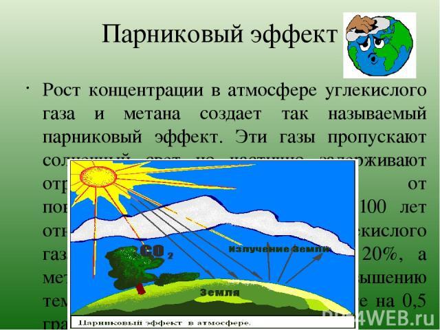Парниковый эффект Рост концентрации в атмосфере углекислого газа и метана создает так называемый парниковый эффект. Эти газы пропускают солнечный свет но частично задерживают отраженное тепловое излучение от поверхности Земли. За последние 100 лет о…